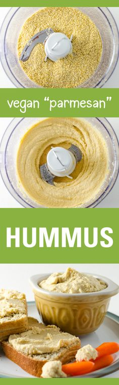 Vegan Parmesan Hummus - a quick and easy recipe made with simple ingredients - the cheesy garlicky flavor is hard to resist! | VeggiePrimer.com