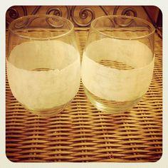 White Glitter Stemless Wine Glasses by kraftymckrafterson on Etsy, $18.00