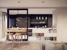 pots suspendus blanc neige, plafond design, table bar en bois massif et tabourets assortis