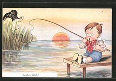 Künstler-AK Korle: Anglers Glück!, kleiner Junge hat einen Schuh geangelt 0