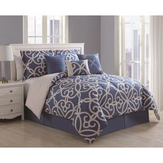 Eliza 7-piece Scroll Denim/ Ivory Comforter Set | Overstock.com Shopping - The Best Deals on Comforter Sets