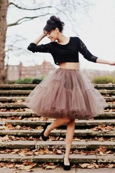muted tulle skirt for grown-up woman with crop black top