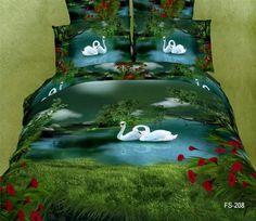 5PCS unique swan lake green Duvet cover modern queen king size 3d bedding set bedclothes bed sheet sets bedding covers 3kg quilt $178.00 - 179.00