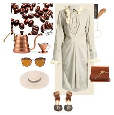 """""""Coffee"""" by statuslusso ❤ liked on Polyvore featuring Christian Dior, Loewe, Maison Michel, Anissa Kermiche, Sophie Hulme and WALL"""