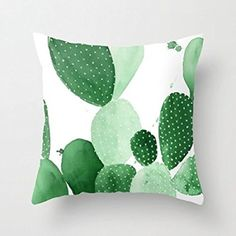 "18"" x 18"" Green Paddle Cactus Ii Round White Dot Decorative Throw Pillow Case Cushion Cover"