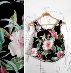 1980s Tropical Floral Cropped Tank Top by Anxiety Size M