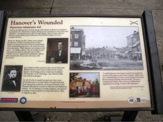 Photo by Sonny Eline. One of the Civil War wayside markers in Hanover, Pennsylvania. This one recounts how the town took care of the wounded after the battle.