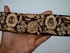 6cm red gold paisley crystal embroidered ribbon BRAID applique trimming