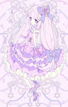 ✮ ANIME ART ✮ pastel. . .cute fashion. . .long hair. . .twin tails. . .dress. . .ribbons. . .ruffles. . .flowers. . .gloves. . .boots. . .stars. . .magical girl. . .cute. . .kawaii