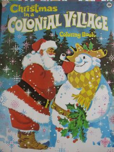 Vintage Christmas in a Colonial Village Coloring Book on Etsy. Christmas Graphics, Christmas Ad, Great Christmas Gifts, Christmas Colors, All Things Christmas, White Christmas, Vintage Christmas Images, Christmas Pictures, Vintage Coloring Books