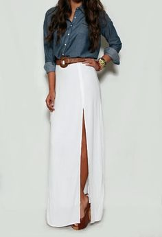 White Maxi Slit Skirt