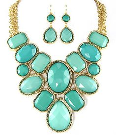 Look what I found on #zulily! Gold & Turquoise Grand Shape Bib Necklace & Earrings by MOA International Corp #zulilyfinds