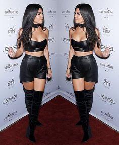 Look super sexy en cuir de Kourtney Kardashian.