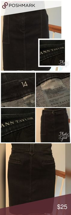 """Ann Taylor Jean Skirt Ann Taylor jean skirt. Excellent condition. Front and back pockets. Measures 38"""" in the waist and 20"""" long. Ann Taylor Skirts Midi"""