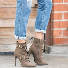 10d0c777281 This military-inspired ankle boot is the perfect pairing for a pair of  denim jeans but also looks incredibly chic with a leather dress