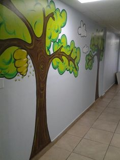 Kids church hallway. Painted trees & clouds, etc.