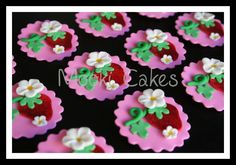 Pink Strawberry cupcake toppers