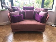 Have you ever considered the idea of a curved contemporary sofa for a bay window. This piece is available in standard and bespoke widths. Please contact us for a quote. Contemporary Sofa, Bay Window, Bespoke, Sofas, Love Seat, Quote, Couch, Throw Pillows, Bed