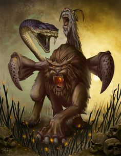 The Chimera, according to Greek mythology, a monstrous fire-breathing female and male creature of Lycia in Asia Minor, composed of the parts of three animals — a lion, a snake and a goat. Usually depicted as a lion, with the head of a goat arising from its back, and a tail that ended in a snake's head, the Chimera was one of the offspring of Typhon and Echidna and a sibling of such monsters as Cerberus and the Lernaean Hydra. Chimera by *MichaelJaecks