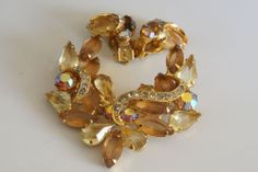 Juliana Jonquil and Rootbeer Rhinestone Brooch Icing Accents Vintage Jewelry