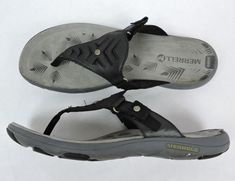 69ccc7937cbc48 Merrell Women Black Leather Thong Sandals Size 9  Merrell  FlipFlops