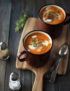 Vegan Spicy Butternut Squash Soup: This creamy - without the cream - soup is full of warm spices and hot chillies and makes for an exciting first course to a Thanksgiving feast.