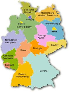 , Germany has states 16 states not the largest state In Germany is Bavaria and the smallest state is bremen North Rhine Westphalia, Baden Germany, Austria, Rhineland Palatinate, All In The Family, Learn German, Thinking Day, Family Genealogy, Bavaria
