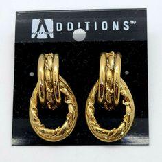 Additions 80s Gold Tone Rope Door Knocker Hoop Pierced Earrings #Additions #DropDangle 90s Jewelry, Door Knockers, Pierced Earrings, Hoop, Ebay, Stud Earring, Piercing, Frame, Earrings