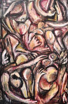 """APARTHEID N.2, (LA CARNE) DIEGO NOCELLA Tecnica mista su tela, 100-150 cm, olio su tela In seguito ad uno studio sulle atrocità dell'Apartheid ne ho tratto la mia personale interpretazione...pensando ad un """"muro"""", in questo caso fatto di carne...un muro ideologico fatto di abitudini, pregiudizio, indifferenza … fatto di esseri umani che al momento della composizione non hanno radici ne provenienza."""