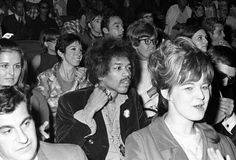 Hendrix is part of the audience at a Martin Luther King, Jr. benefit in New York City in June 1968 a few months after the civil rights leader's assassination.