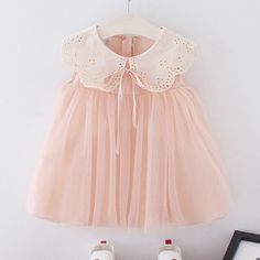 Baby / Toddler Faux-two Lace Doll Collar Tulle Splice Sleeveless Dress Toddler Girl Outfits, Baby Outfits Newborn, Baby Girl Dresses, Baby Dress, Cute Dresses, Kids Outfits, Sewing Kids Clothes, Baby Clothes Patterns, Cute Baby Clothes