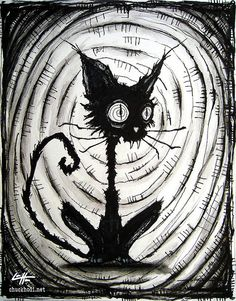 Chuckhodi - Black Cat 3 - Halloween Cats Stray Spooky Alley Dark Art Pets Cute Animal Creepy Gothic Art Black and White Kitty Arte Horror, Horror Art, Goth Art, Creepy Art, Halloween Cat, Gothic Halloween, Cat Drawing, Art Plastique, Watercolor And Ink