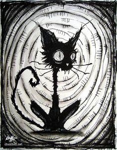 """Drucken 8 x 10""""- schwarze Katze 3 - Halloween Katzen streunende Spuk Alley dunkel Kunst Tiere süß Tier Creepy gotischen Kunst Schwarzweiß Kitty"""