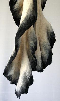 This scarf is a part of our winter collection 2009 FELT by Irit Dulman & Tal Cohen Our Felt Products can be found at: Agas and Tamar - N. Agas and Tamar - Tel-Aviv Gertrud - Tel Aviv Gertrud - Ramat-Hasharon Design Textile, Textile Art, Nuno Felting, Needle Felting, Fabric Manipulation, Felt Art, Shibori, Fabric Art, Felt Crafts