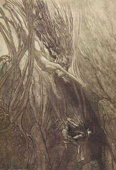 The dwarf Alberich steals the Rhinegold watched over by the Rhine-maidens by Arthur Rackham (1867–1939)