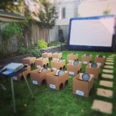 """Really Cute Idea for younger kids, hold a """"Drive in Movie"""" Party!  Here's how we'd do it inexpensively: http://www.budget101.com/frugal-savings/420825-idea-kids-party-hold-drive-movie-theater-party.html"""