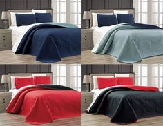 This quilt set by De Moocci will add a contemporary and stylish touch to any bedroom décor. Available in various size and color options, this chic set includes a coverlet Blanket and two pillow shams. King Quilt Bedding, California King Quilts, Quilted Bedspreads, Quilt Sets, King Beds, Bed Spreads, Contemporary, Modern, Bedroom Decor