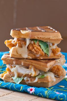 Once you have your chicken and waffles ready, this recipe only requires a few extra steps: Sandwich them together with cheese melted inside for an easy-to-serve family meal.