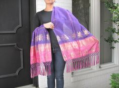 Pink and Purple Organza Silk Shawl with SilkTassels by the Old Silk Route