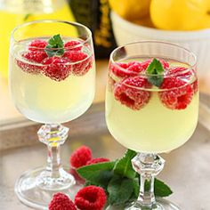 Limoncello Cooler - Limoncello, Prosecco, Raspberries and Mint. MUST TRY THIS :)