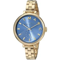 Marc Jacobs Women's MBM3366 Baker Slim Blue Watch ($225) ❤ liked on Polyvore featuring jewelry, watches, blue, stainless steel bracelet, wide bracelet, clasp bracelet, blue dial watches and snap button bracelet