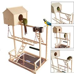 "Amazon.com : QBLEEV Bird's Nest Stand Playground Climb Wooden Perches (bird stand with hook (16""L 10"" W 19.7""H)) : Pet Supplies"