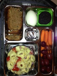 """19 Sep Lunch- Spinach tortellini salad with chopped ham and cherry tomatoes, zucchini bread, boiled egg, carrots and grapes and good for you """"who knew"""" cookie."""