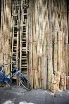 Bamboo ladders for sale, Hang Vai street, Hanoi's old quarter, Vietnam, Asia.