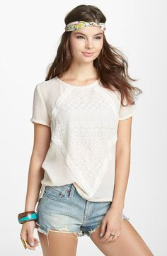 Lovely lace on a casual tee.