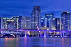 miami   miami city downtown skyline panoramic hdr photo after sunset form ...