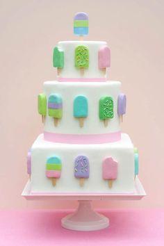 Fondant ice cream pop cake by Erica OBrien Cake Design by TNBrat Pretty Cakes, Cute Cakes, Beautiful Cakes, Amazing Cakes, Beautiful Boys, Ice Cream Pops, Ice Cream Party, Ice Pops, Crazy Cakes