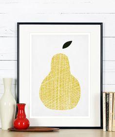 Affiches rétro de fruits, poire jaune, design minimaliste, cuisine art, publicité affiche, vintage poster, décor mural, art scandinave, A3