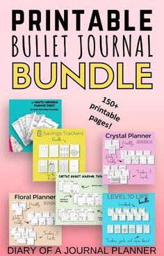 Plan out your entire year of bullet journaling with this brilliant printable bullet journal bundle! Get 150  printables pages. #bulletjournalprintables #Bulletjournalpages #Bulletjournalbundle #bujo #planner #planneraddict Planner Sheets, Printable Planner Pages, Bullet Journal Printables, Planner Template, Planner Inserts, Templates Printable Free, Journal Layout, Journal Pages, Journals
