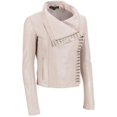 LaMarque Lamb Leather Scuba Jacket w/Studs ($400) ❤ liked on Polyvore featuring outerwear, jackets, slim jacket, lambskin jacket, studded jacket, pink jacket and slim fit jacket